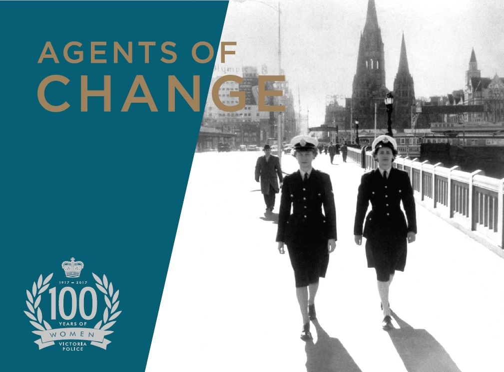 Image of promotional artwork for exhibition celebrating 100 years of women in policing