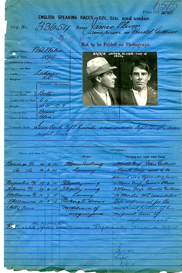 Photo of James Oliver's police record from 1915