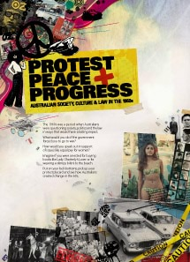 Image of artwork for exhibition called Protest, Peace and Progress: Australian Society, Culture and Law in the 1960s