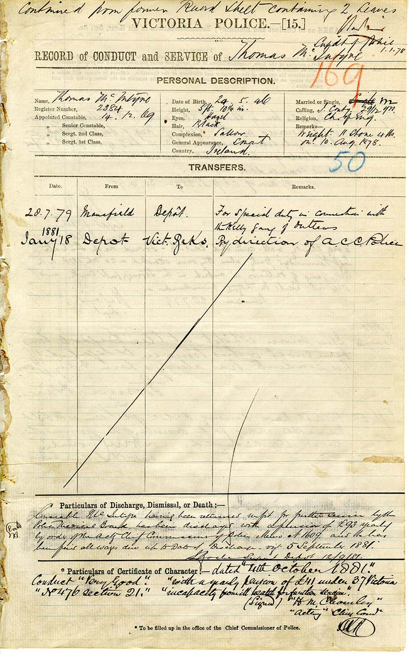 Photo of Constable Thomas McIntyre's record of police service from 1881