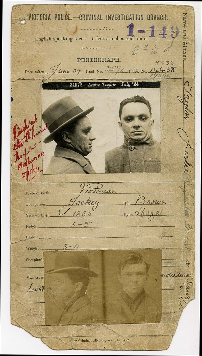 Photo of gangster Squizzy Taylor's police record